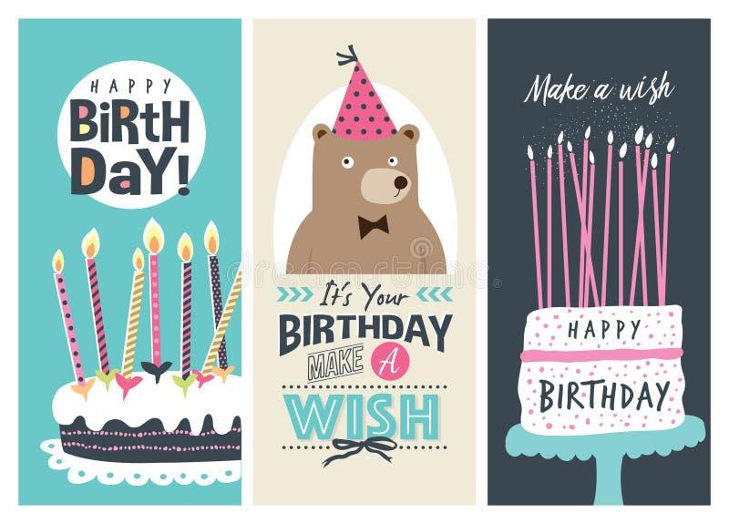 Biglietti di auguri per il compleanno illustrazione di stock