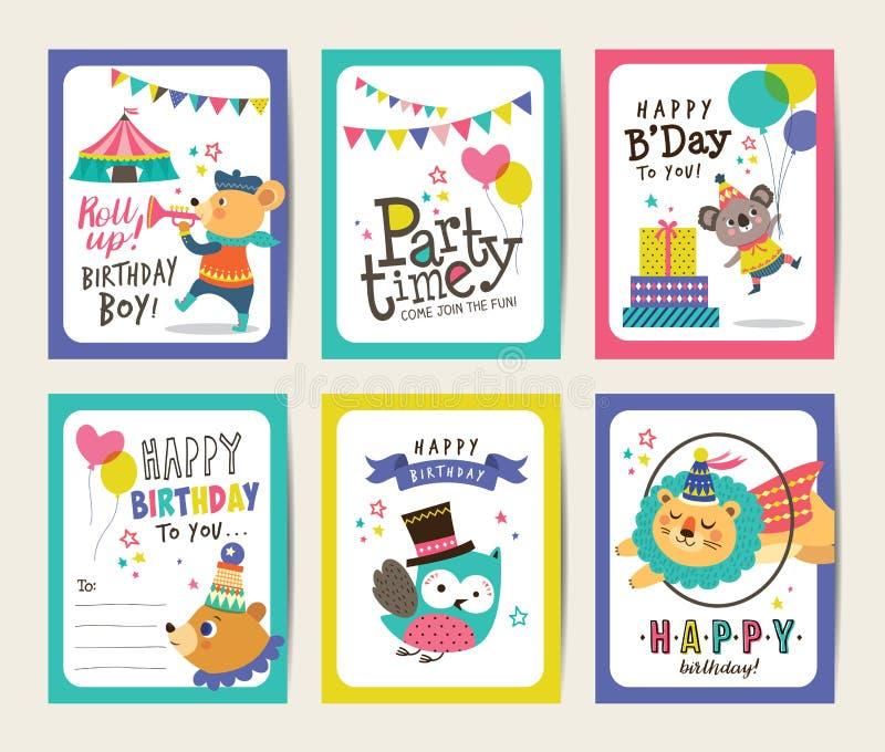 Biglietti di auguri per il compleanno royalty illustrazione gratis