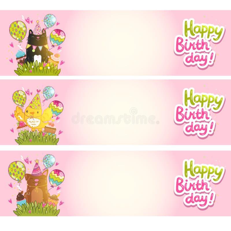 Biglietti di auguri per il compleanno felici con il gatto, cane, uccello. royalty illustrazione gratis