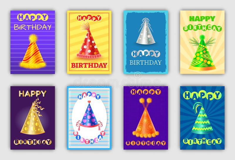 Biglietti di auguri per il compleanno felici magici con i cappelli di forma di cono illustrazione vettoriale