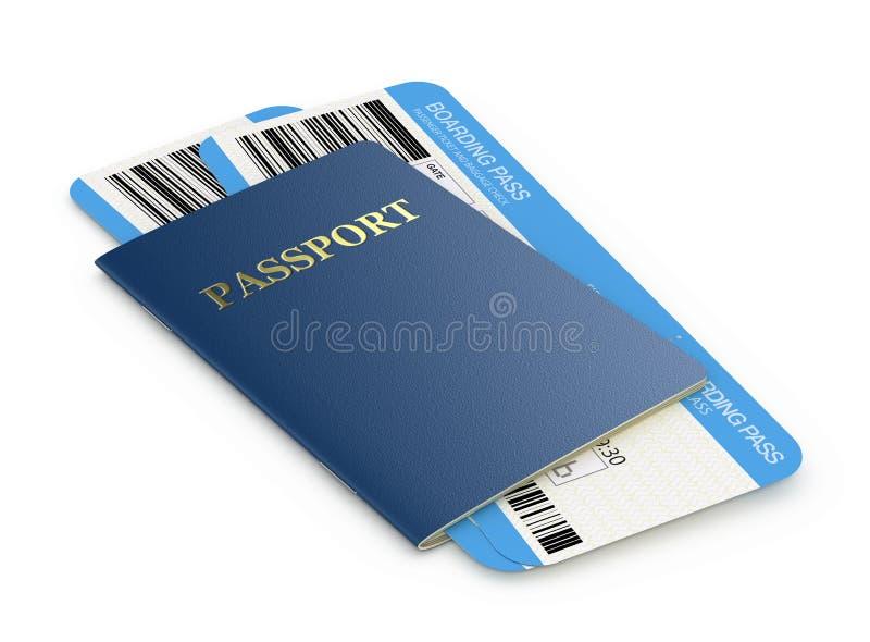 Biglietti di linea aerea e del passaporto illustrazione di stock