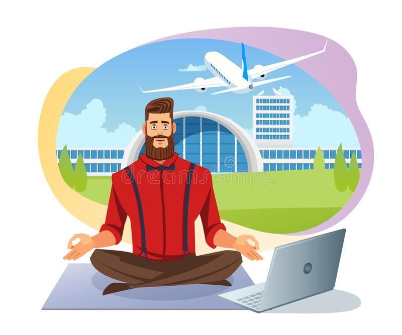 Biglietti di linea aerea facili che prenotano concetto piano di vettore illustrazione vettoriale