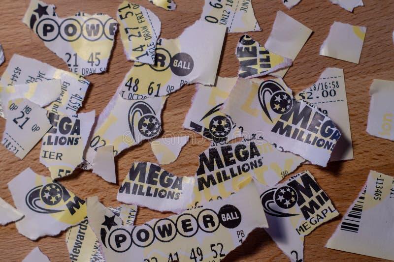 Biglietti di lotteria americani fotografia stock