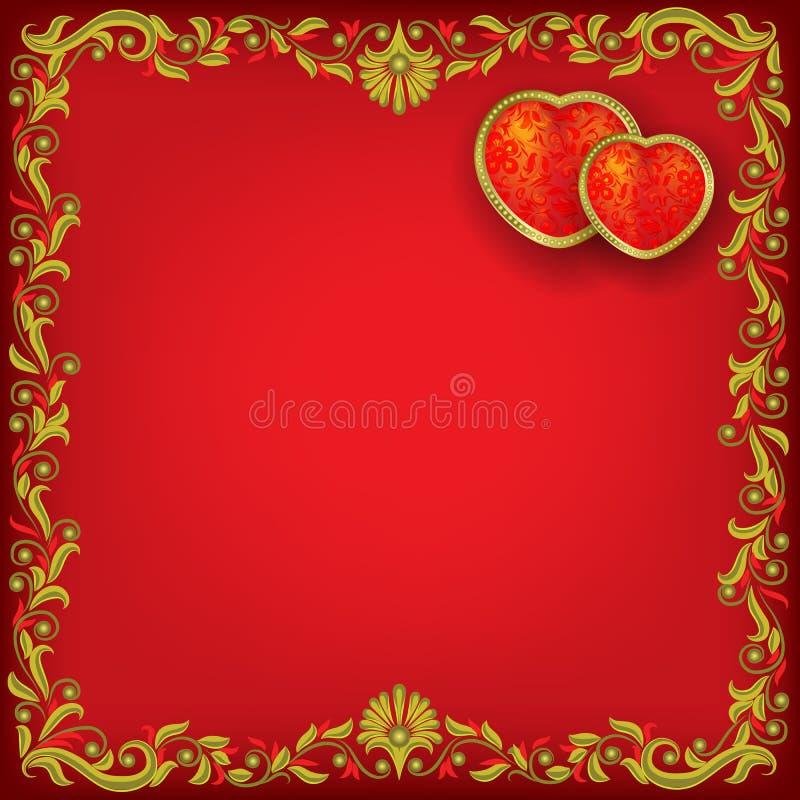 Biglietti di S. Valentino che accolgono con i cuori rossi illustrazione di stock
