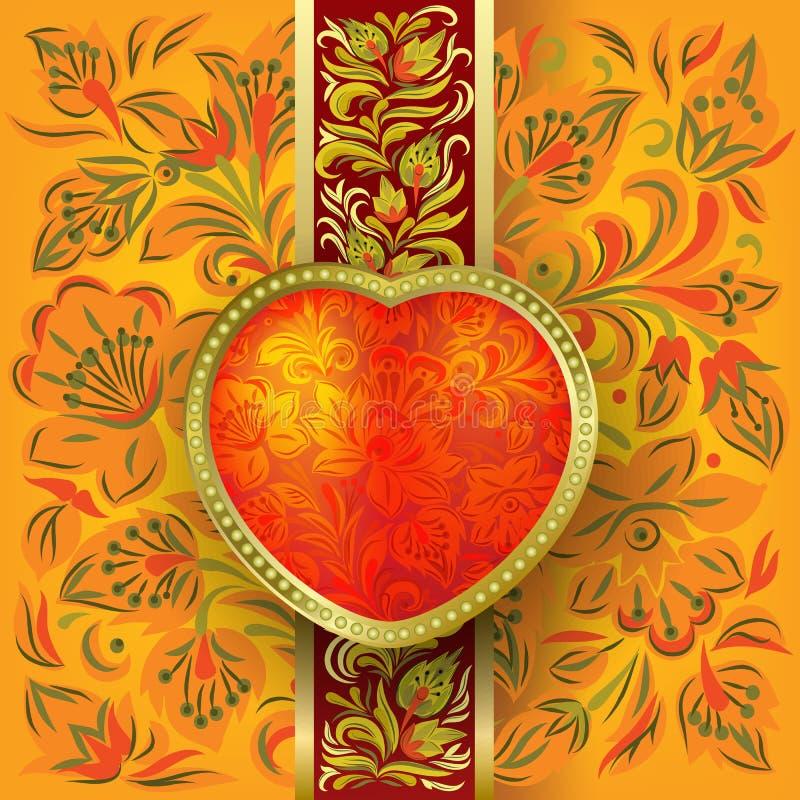 Biglietti di S. Valentino che accolgono con il cuore rosso royalty illustrazione gratis