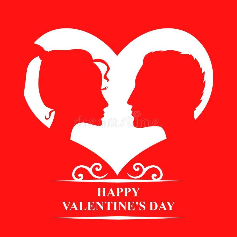 Biglietti di S. Valentino con degli uomini e le donne nell'amore su fondo rosso illustrazione vettoriale