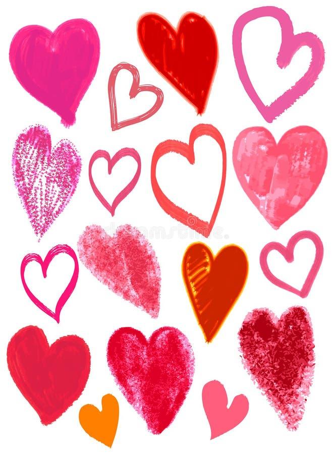 Biglietti di S. Valentino cuore, vettore del disegno della mano royalty illustrazione gratis