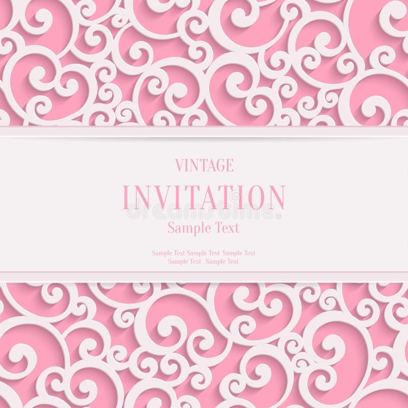 Biglietti di S. Valentino 3d o invito d'annata rosa di vettore illustrazione vettoriale