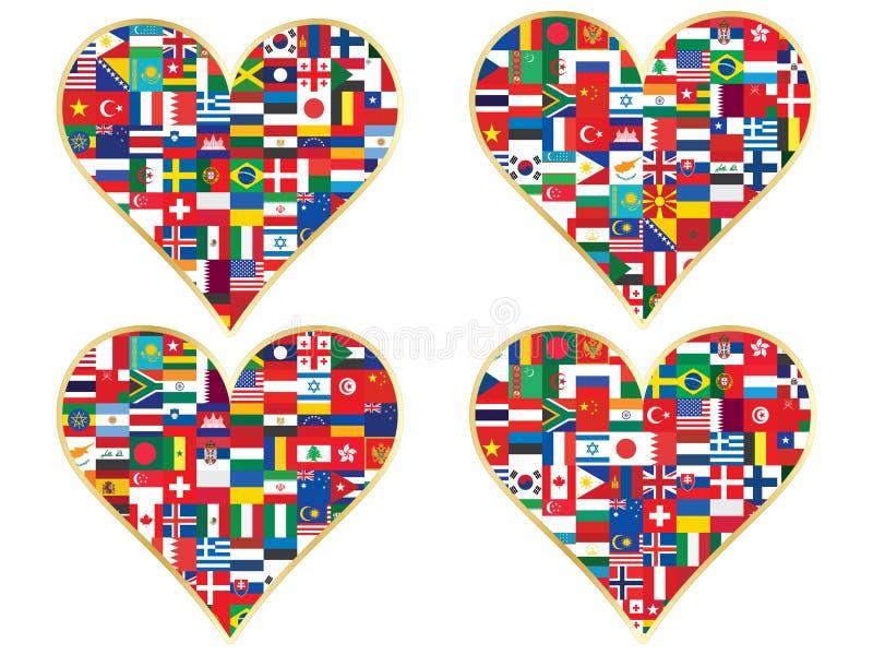 Biglietti di S. Valentino fatti delle icone delle bandiere illustrazione vettoriale