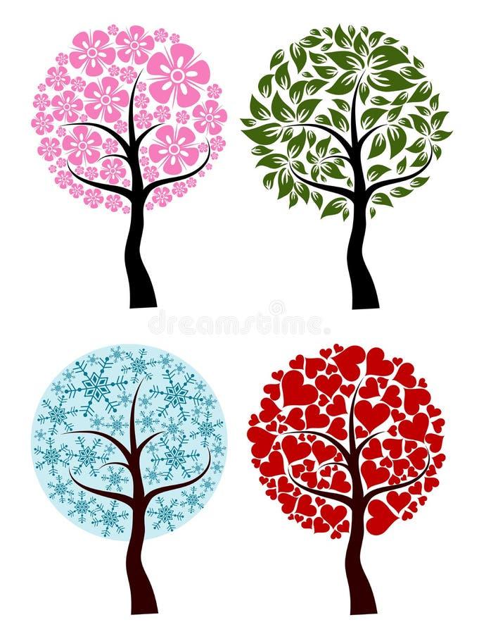 Biglietti di S. Valentino, sorgente, priorità bassa dell'albero di inverno,   illustrazione vettoriale