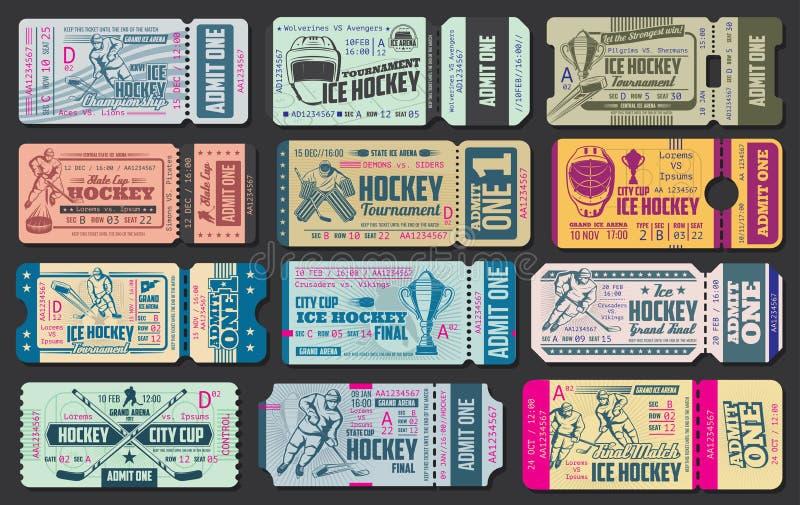 Biglietti di vettore del gioco di hockey su ghiaccio royalty illustrazione gratis
