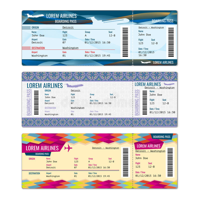 Biglietti di vettore dell'aeroplano royalty illustrazione gratis