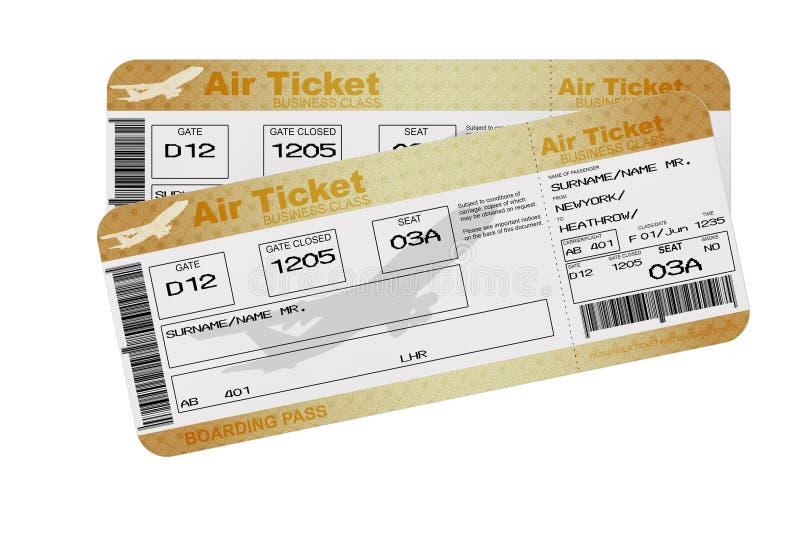 Biglietti dorati di Fly Air del passaggio di imbarco di linea aerea della prima classe o di affari rappresentazione 3d illustrazione di stock