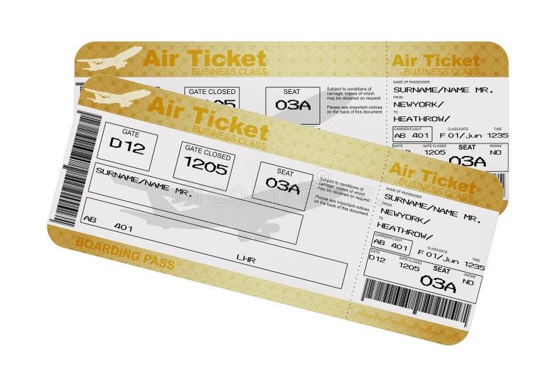 Biglietti dorati di Fly Air del passaggio di imbarco di linea aerea della prima classe o di affari rappresentazione 3d illustrazione vettoriale