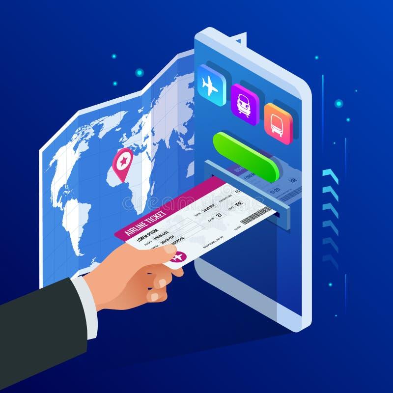 Biglietti isometrici di linea aerea o del bus o di treno online Biglietto online d'acquisto o di prenotazione Viaggio, voli di af illustrazione di stock