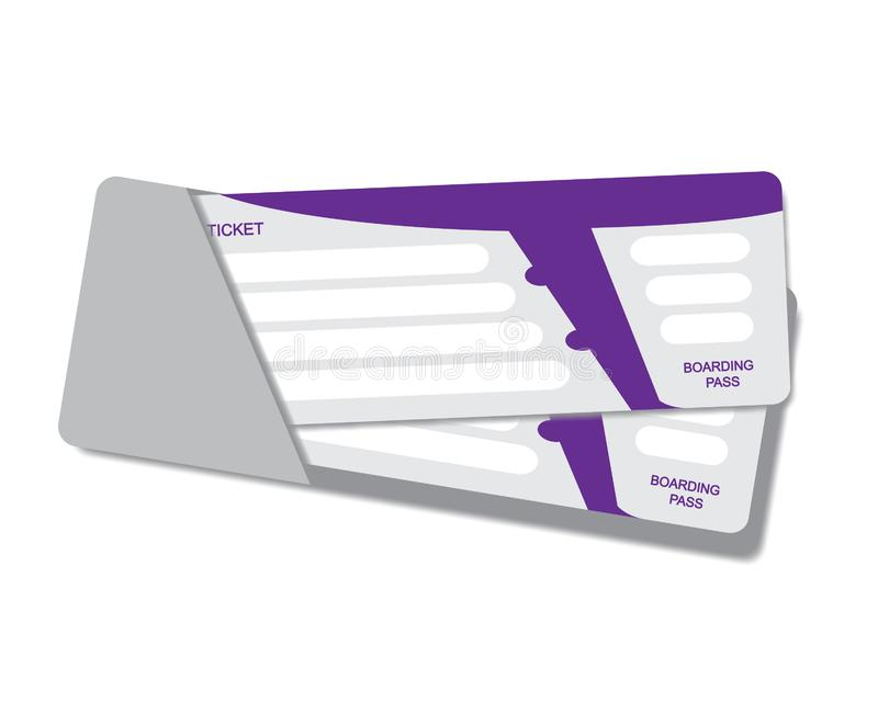Biglietti moderni del passaggio di imbarco di viaggio di linea aerea due isolati su fondo bianco Tempo di viaggiare Modello di ve royalty illustrazione gratis