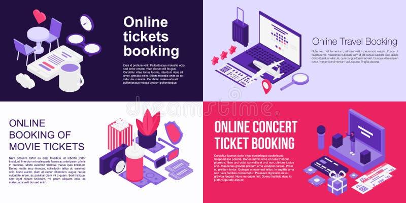 Biglietti online che prenotano l'insieme dell'insegna, stile isometrico royalty illustrazione gratis