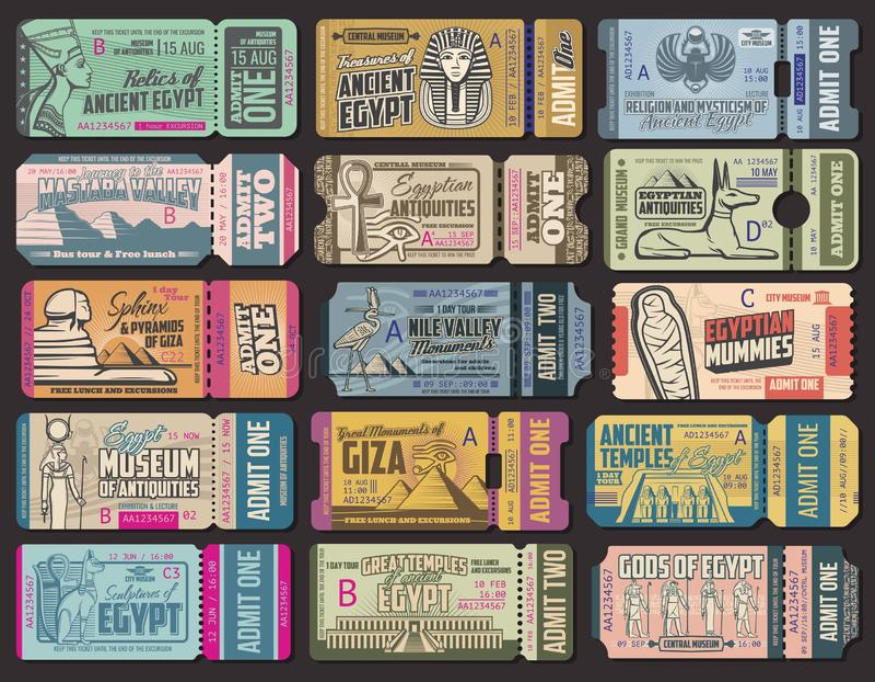 Biglietti turistici di giro della cultura antica dell'Egitto illustrazione vettoriale