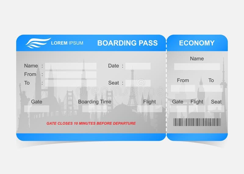 Biglietto blu del passaggio di imbarco di linea aerea illustrazione di stock