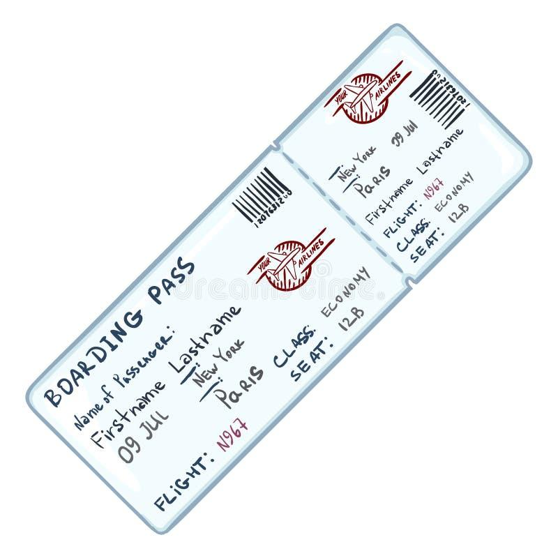 Biglietto blu di Avia del singolo fumetto di vettore royalty illustrazione gratis