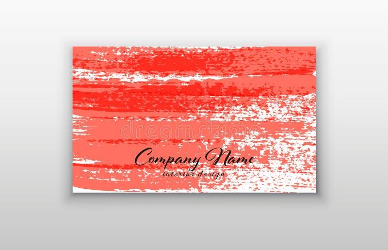 Biglietto da visita Ambiti di provenienza moderni astratti Colpo della spazzola Colore di corallo vivente dell'anno 2019 royalty illustrazione gratis
