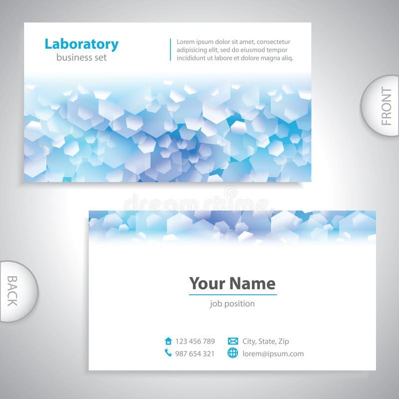 Biglietto da visita bianco blu universale del laboratorio. illustrazione vettoriale