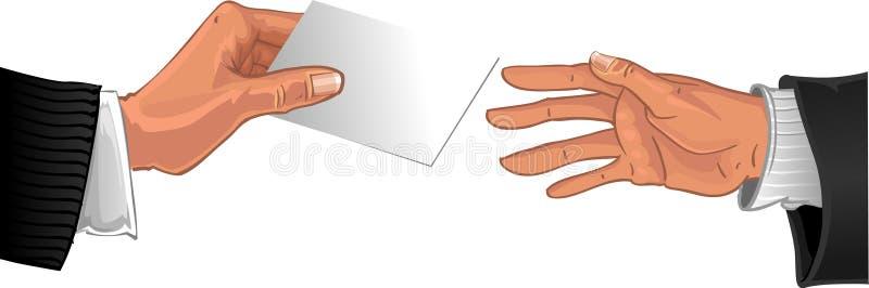Biglietto da visita bianco del passaggio maschio della mano all'altra mano royalty illustrazione gratis