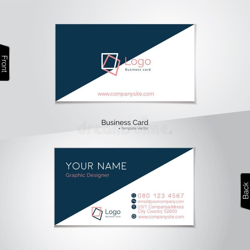 Biglietto da visita bianco e blu scuro semplice - vector il modello royalty illustrazione gratis