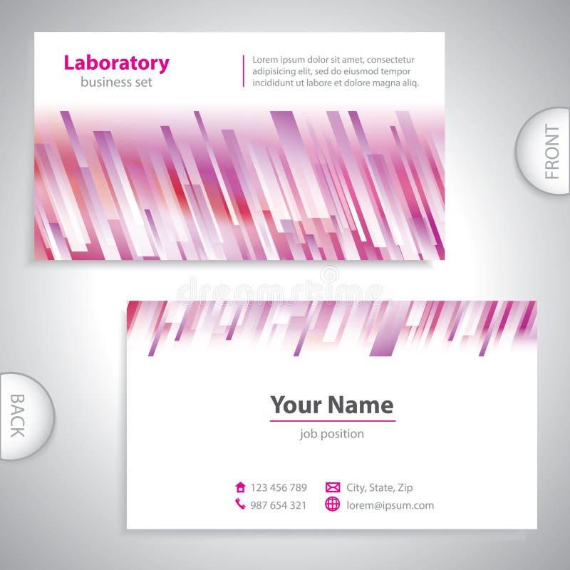 Biglietto da visita bianco porpora universale del laboratorio. illustrazione vettoriale