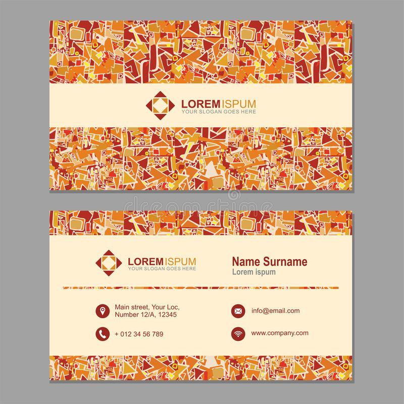 Biglietto da visita, biglietto da visita con il modello poligonale astratto La VE illustrazione di stock