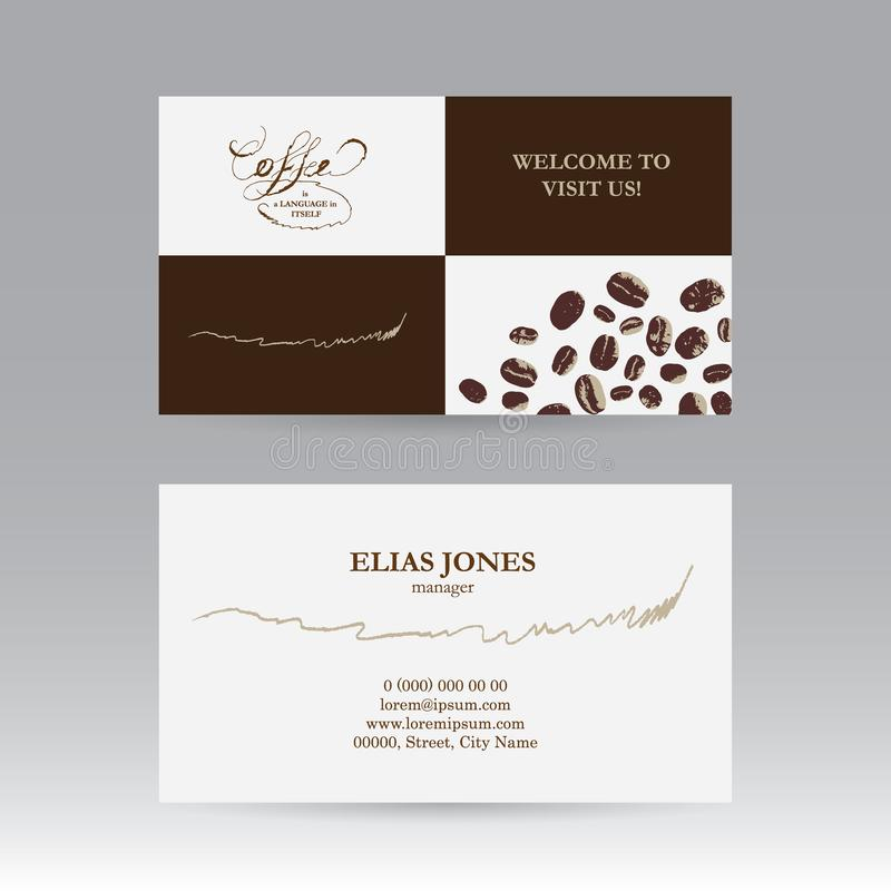Biglietto da visita bilaterale per il caffè royalty illustrazione gratis