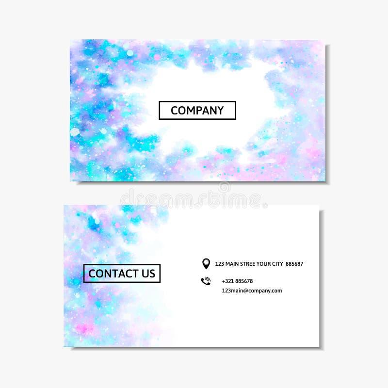 Biglietto da visita con un rosa e una progettazione blu dell'acquerello Illustrazione di vettore illustrazione di stock