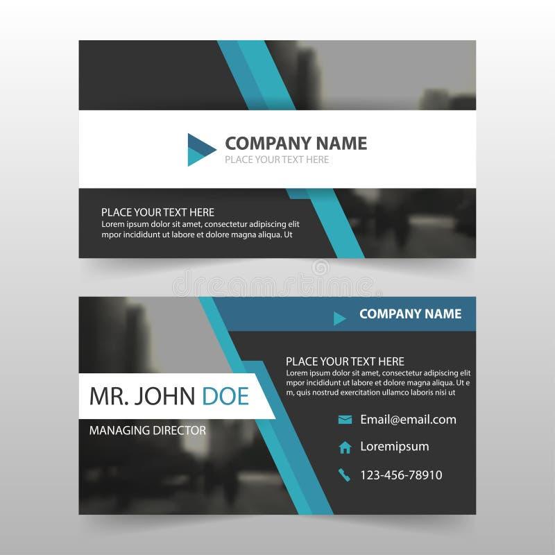 Biglietto da visita corporativo del nero blu, modello della carta di nome, modello pulito semplice orizzontale di progettazione d illustrazione di stock
