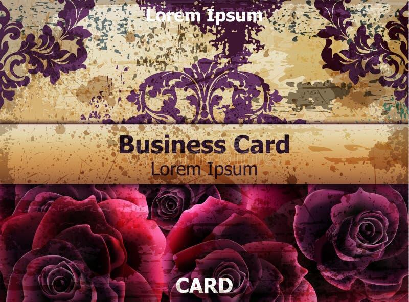 Biglietto da visita d'annata con il vettore dei fiori di Rosa carte della disposizione del modello illustrazione vettoriale