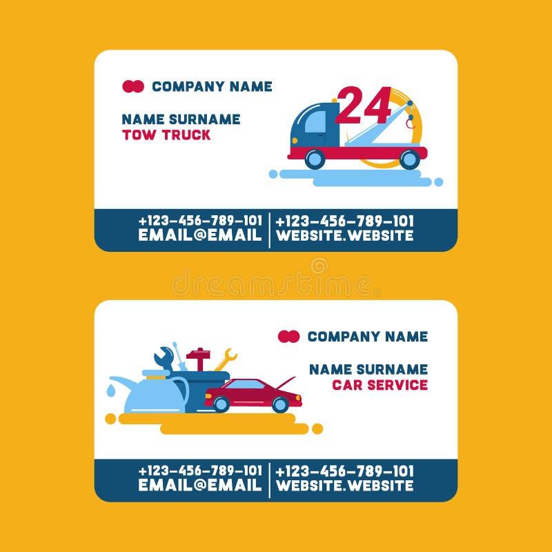 Biglietto da visita del camion di servizio e di rimorchio di riparazione dell'automobile, illustrazione di vettore Riparazione de illustrazione vettoriale