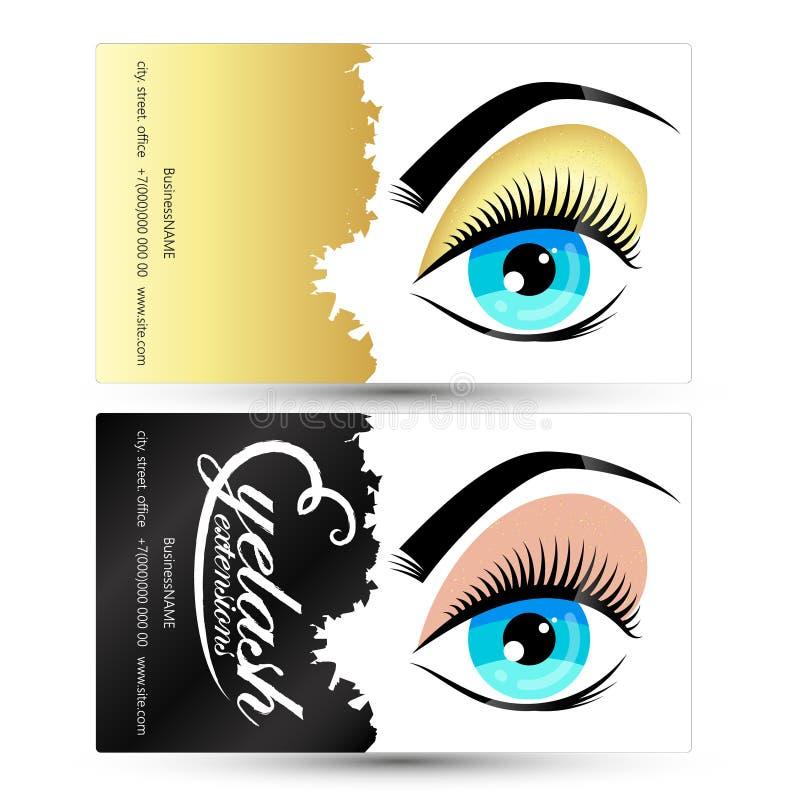 Biglietto da visita del salone delle sopracciglia e dei cigli illustrazione di stock