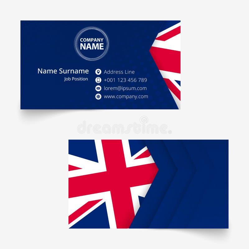 Biglietto da visita della bandiera del Regno Unito, modello del biglietto da visita di dimensione standard 90x50 millimetro illustrazione vettoriale