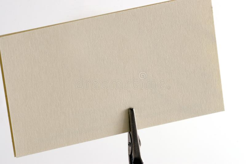 Biglietto da visita dello spazio in bianco della clip di Post-it immagini stock libere da diritti