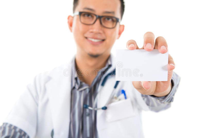Biglietto da visita di mostra medico asiatico fotografia stock