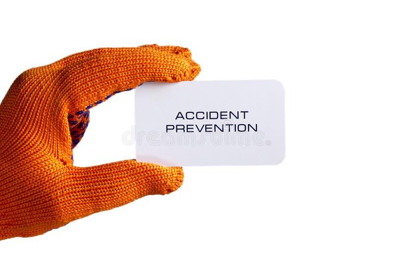 Biglietto da visita a disposizione in guanto arancio immagine stock libera da diritti