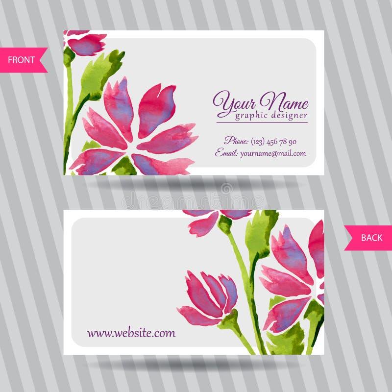 Biglietto da visita elegante con il mazzo dei fiori illustrazione vettoriale