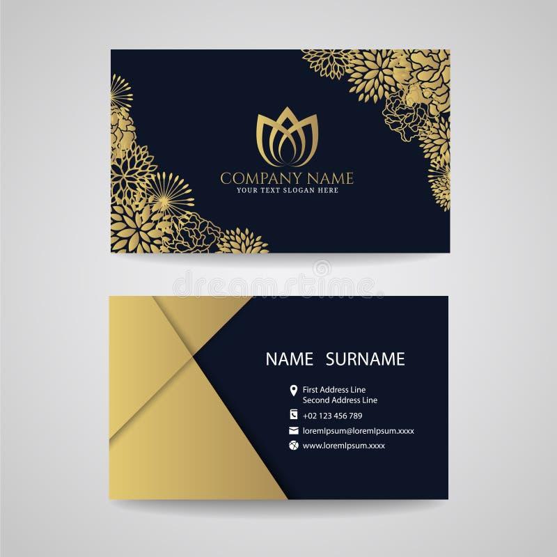 Biglietto da visita - logo floreale della struttura e del loto dell'oro e carta dell'oro su fondo blu scuro illustrazione di stock