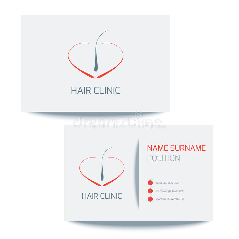 Biglietto da visita per le cliniche dei capelli royalty illustrazione gratis