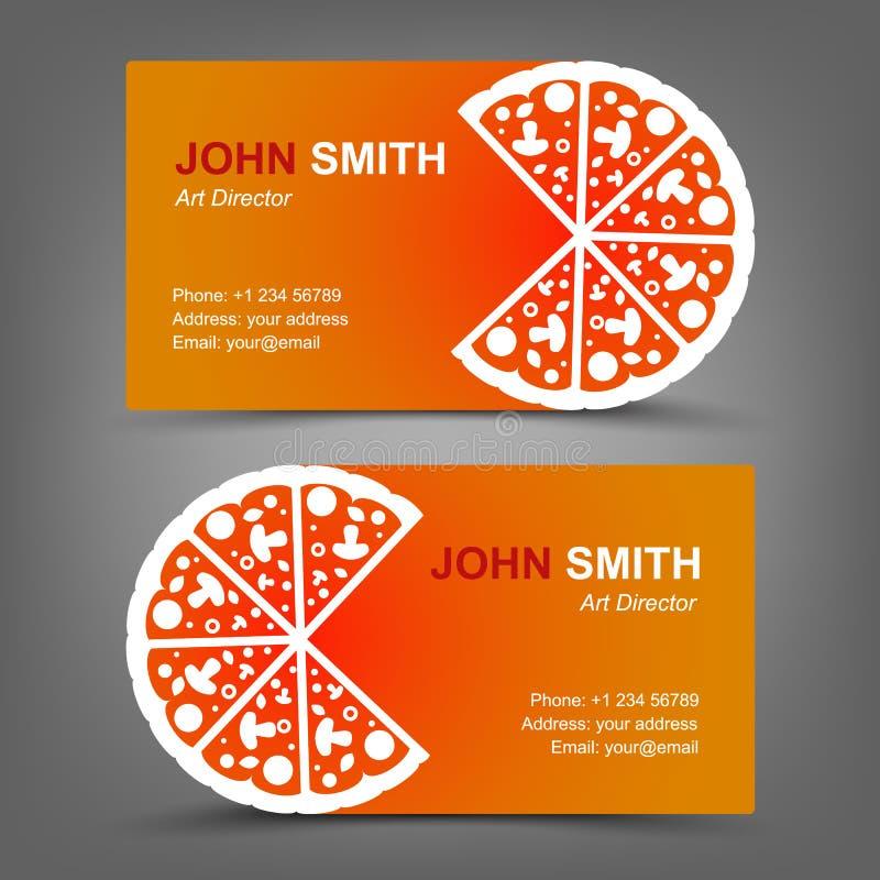 Biglietto da visita. Pizza illustrazione di stock