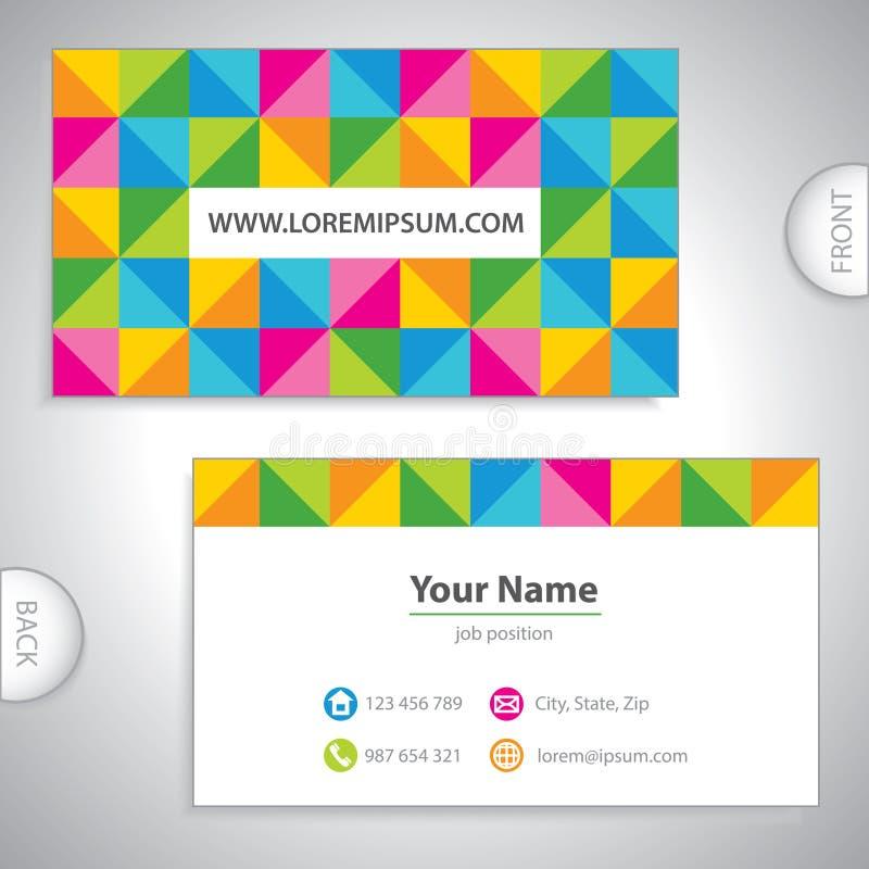 Biglietto da visita a quadretti colorato. illustrazione di stock