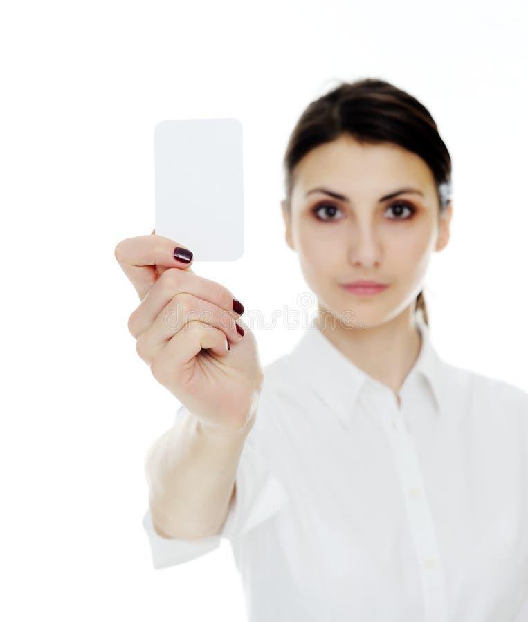 Biglietto da visita in una mano fotografie stock libere da diritti