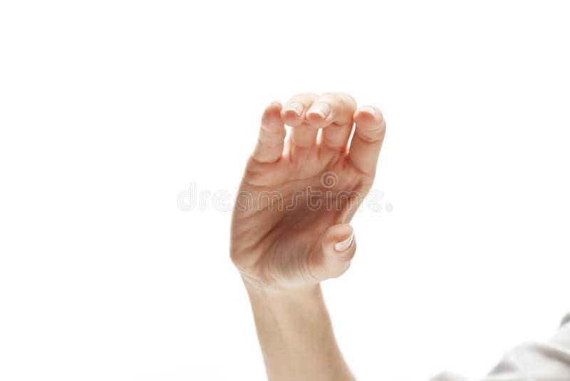 Biglietto da visita virtuale della stretta della mano della donna immagine stock