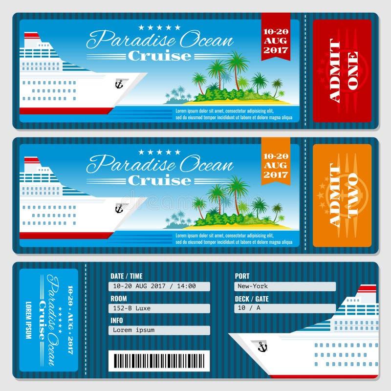 Biglietto del passaggio di imbarco della nave da crociera Modello di vettore dell'invito di nozze di luna di miele illustrazione vettoriale