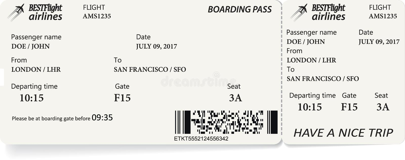 Biglietto del passaggio di imbarco di linea aerea illustrazione vettoriale