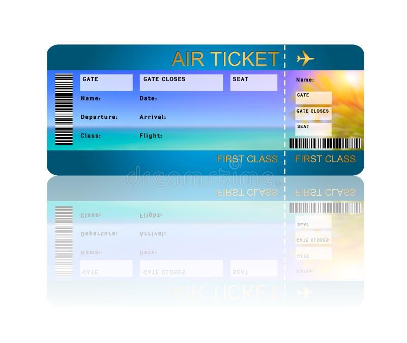 Biglietto del passaggio di imbarco di linea aerea isolato sopra bianco illustrazione vettoriale